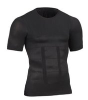 erkekler vücut şekillendirici gömlek toptan satış-1 Adet / grup Siyah Beyaz erkek Moda Vücut Şekillendirme Slim Fit Gömlek Korse Kuşaklı Bira Göbek Blazer Erkekler Sıcak Zayıflama Spor Giyim