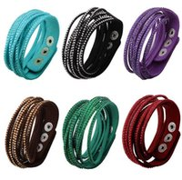 Wholesale Womens Leather Beaded Bracelets - Womens Multilayer Wrap Slake Bracelet Shiny Rhinestone Studded Wristband Leather Bracelets Adjustable Party Fine Jewelry Valentine Gift Y133