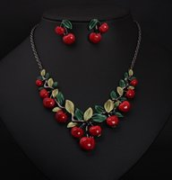 Wholesale Jewelry Settings Wholesale China - Vintage Red Cherry Pattern Necklace Earrings Jewelry Set New Fashion Statement Jewelry for Party Set Cute Gift wedding jewelry