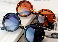 Wholesale Baby Sun Glasses Boy - Hot Girls Boys Fashion Sunglasses Round Kids Sunglasses Children Sun Glasses Baby Vintage Eyeglasses Children Beach Sunblock A7297