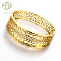 Wholesale Designs Gold Jewellery Sets - Jewellery Designing Recommend New Fashion 18K Rose Gold Plated Zircon Pierced Bangle Bracelet Jewelry for Women