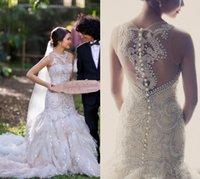 Wholesale Winter Dress Short Price - Free Shipping Luxury Wedding Dresses Sheer Neck Mermaid With Full Beads Pearl Court Train Tulle Lace Bridal Gown Good Price 2015 Vestidos