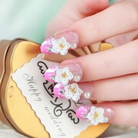 Wholesale Hand Nail Piece - Wholesale-High-quality Finished Piece Carved Bride Nail Tip Nail Adhesive False Nails Hand you Can Paste It Directly  polka Dot