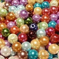 Wholesale Pearl Spacers - Wholesale-300pcs Mixed Colour Smooth Round Glass Pearl Beads 6mm Spacers