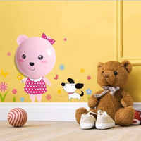 Wholesale Diy Lamp Wallpaper - Wholesale-Cute Pink Bear Wall Lamp DIY Wallpaper LED Night Light Control Wall Stickers for Children's Room House Decor