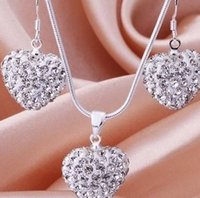 Wholesale Wholesale Heart Beads China - free shipping factory price white handmade Mixed Colors beads clay heart silver plated Shamballal Crystal necklace pendant drop earring