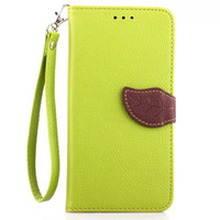Wholesale Galaxy S3 Flip Case Stand - 300PCS Leaf Wallet Flip PU Leather Case Stand TPU Cover With Card Slots for Samsung Galaxy S3 S4 S5 S6 Edge S7 Edge No Package free DHL