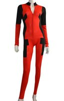 Wholesale Red Lycra Catsuit - Deadpool Costume   Front Open Catsuit without Hood Hand Feet Halloween party lycra spandex zentai suits