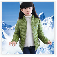 Wholesale winter feather jacket girls - Green Girls Down Jackets Parkas Boys Outfits Coats Winter Outerwear Hot Sale Children Down Coat