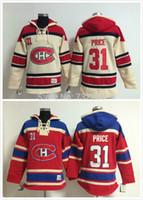 hokey hoodie montreal toptan satış-30 Takımlar-Toptan 31 Carey Fiyat Eski Zaman Montreal Canadiens Hokeyi Hoodie Jersey Kazak Formaları, Dikişli Dikişli Numaralandırma Yazı.