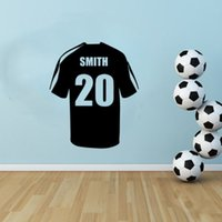 Wholesale Shirt Decals - Personalised name Soccer Shirt Boys Bedroom Wall Art Vinyl Decal Sticker