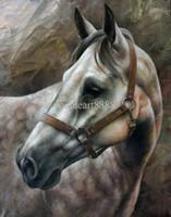 ingrosso cavallo bianco della tela di canapa della pittura a olio-Giclee Bella White Horse Pittura a olio animale Grande decorazione della parete Fornitura di arte della tela Artigianato poco costoso senza cornice