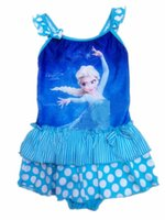 Wholesale Kids Swim Tutu - elsa ice princess kids tutu swimsuit baby girl polka dot swimwear one piece stripe swimsuit elsa swimming costume elsa swimsuits for girls