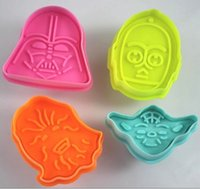 Wholesale Star Wars Cookie Cutter - Star Wars Cookie Stamp 3D Biscuit Mold Metal Plunger Cookie Cutters Movie Baking Bakeware Mould TY1665