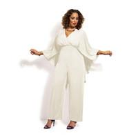 Wholesale Wide Leg Plus Size Capris - Womens Plus Size Chiffon Jumpsuit Black White V-Neck Cap Romper High Waist Wide Leg Playsuit XL-4XL MKE1101