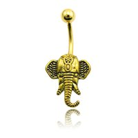 Wholesale Elephant Body Jewelry - Fashion Belly Button Rings 316L Surgical Steel Retro Gold Elephant Head 20 Piece Lot Navel Body Piercing Jewelry