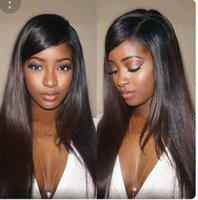 Wholesale brazilian lace wigs side bangs online - Brazilian Silky Straight Lace Frontal Wigs side bang Density Glueless Full Lace human hair Wig with Baby Hair Natural Hair Line