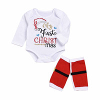 Wholesale long infant socks - Mikrdoo Newborn Baby My First Christmas Clothes Sets Infant 100%Cotton Long Sleeve Romper with warm Socking Outfits kids Christmas Clothing