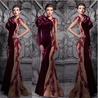 vestidos de fiesta de otoño al por mayor-Borgoña venta caliente sirena terciopelo vestidos de baile 2018 otoño invierno sexy cuello alto corte tren formal vestidos de noche