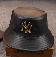 Wholesale Designer Hat Caps - Fashion Designer Leather NY Bucket Hat For Mens Womens Foldable Fishing Caps Black Fisherman Beach Sun Visor Sale Folding Man Bowler Cap