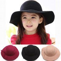 Wholesale Felt Fedora Hats - 2016 New Girl Wool Felt bow Hats Childrens Wide Brim Caps Kids Summer Beach Hats