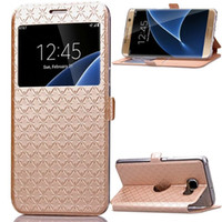 Wholesale Diamond Pouch Case - For Samsung Galaxy Note 8 J5 J7 2017 S7 EDGE J310 G530 LG G6 Sony XA Wallet Leather Pouch Case Open Window Diamond Caller ID Card Skin Cover