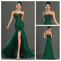 Wholesale Sophisticated Formal Dresses - Sophisticated Dark Green Prom Dresses Chiffon Sweetheart Applique and Beaded Mermaid Evening Dresses Formal Gowns High Side Split Cheap