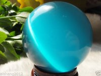 Wholesale blue spheres - AAA+++ Hot Sell ASIAN QUARTZ BLUE CAT EYE CRYSTAL BALL SPHERE 60MM + STAND