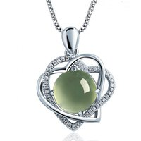 Wholesale Grapes Pendant Necklace - selling 925 sterling silver jewelry crystal necklace heart-shaped Stone Pendant with grape lynx goods