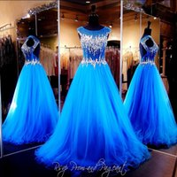 Wholesale Strapless Open Side Prom Dresses - 2016 New Bling Sexy Evening Dresses Wear Illusion Crystal Major Beading Royal Blue Long Hollow Open Back Formal Vestidos Prom Party Gowns