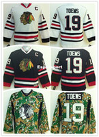 Wholesale Ice C - Factory Outlet, NHL Chicago Blackhawks Kids Jerseys 19 Jonathan Toews Youth Hockey Jersey Black White Green Camo With C Patch