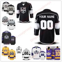 Wholesale Red Crowns - Stitched Custom Los Angeles Kings mens womens youth OLD BRAND Gray Purple Black White gold Kings crown Yellow hockey cheap Jerseys S-4XL