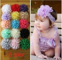 Wholesale Chiffon Flower Lace Hair Accessory - 16 Color Baby Chiffon Hair Flowers Christmas Colorful Floral Lace Decoration Elastic For Headband Hairband Flowers Accessories 100pcs K3229