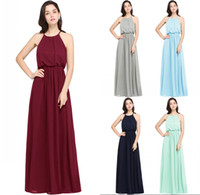 Wholesale prom dresses long mint green - 2018 Hot Mint Green Chiffon Long Bridesmaid Dresses A Line Halter Neck Pleats Maid of Honor Evening Prom Gowns Simple Designed CPS618
