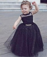 Wholesale Sleeveless T Shirts For Babies - Newest Style Black Baby Little Child Toddlder Clothing For Birthday Party Formal Wear 2017 Cute Girls Pageant Gown