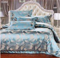 Wholesale queen satin bedspreads - Wholesale-Diamond blue bedding set king size quilt cover set bed covers satin bedspread cotton sheet queen bed set 4pcs set 5359