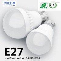 Wholesale 24v 7w E14 - CREE 3W 5W 7W 9W LED bulbs LED Globe Light Energy Saving Ac85-265V E27 Dimmable led lamp3 years warranty 5730 led lights ROHS