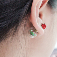 ingrosso rose giapponesi-Giappone e Corea del Sud gioielli rose rosse vetro palla orecchini albero foglie orecchini pendenti