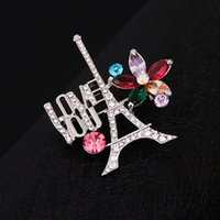 Wholesale Eiffel Tower Shawl - 2017 new style women western Buckle romantic shawl The Eiffel Tower in Paris Brooches brooch flower fashion and beautiful