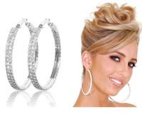 Wholesale Wholesale Diamond Hoop Earrings - Lady Silver Hoop Round Earrings Rhinestone Diamante Crystal Gem Jewellery 2 Rows Multi Size