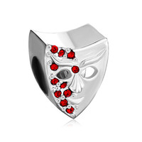 Wholesale European Beads Swarovski - Garnet Red Bling Swarovski Crystal Mask Bead in gold Plating European Fits Pandora DIY Charm Bracelet