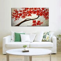 One Panel blooms landscaping - Decorative Art Handmade Oil Painting On Canvas The Red Flowers In Full Bloom Picture For Living Room Home Decor Wall Painting Picture