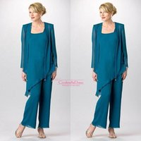 Wholesale Cheap Bridal Pant Suit - 2017 Cheap Teal Summer 3 Pieces Mother's Pants Suit Chiffon Long Sleeves Mother Of the bridal Suits