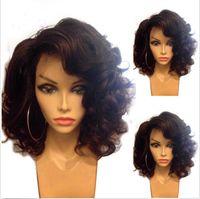 Wholesale Brazilian Wavy Hair Unprocessed - Cheap short full lace human hair wigs wavy unprocessed brazilian front lace human hair wigs 130%density with baby hair