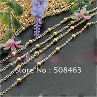 Wholesale Bright Nose Rings - Ship Free! 50meters lot Bright Gold-Tone Copper Chain 2mm oval 4mm pressed ball 25mm between two pressed balls jewelry chain