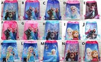Wholesale School Bag Princesses - 15pc lot new style children's Non-woven froze n Elsa Anna princess Drawstring Backpacks Printed School bag Party Favor 15 design KK01