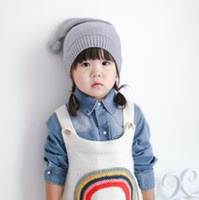 Wholesale Korea Kids Hat - New Baby Knitting Hat 100% Cotton Fashion Korea High Quality Kids Caps Christmas Accessories for Wholesale Free Shipping