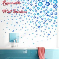 Wholesale Vinyl Wall Flower - Removable Flower Butterfly Decal Decorating Room Wall Sticker PVC Waterproof New