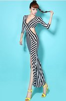 Wholesale Long Asymmetrical Stripe Dresses - Europe Sexy Both Sides Hollow Waist V-neck Skirt Former Slit Irregular Stripe Long Dress A0377