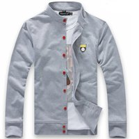 Wholesale Korean Hoodie Sweater - 2014 S To 4XL men's Cardigan sweater jacket mens Mandarin collar Korean Slim male baseball uniform Hoodies Sweatshirt Outerwear